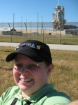 Shannon takes one of the ultimate selfies during the STS-129 NASA Tweetup.