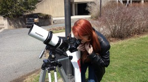 Catching a great daytime view of Venus through a different telescope. Photo by John Wood.
