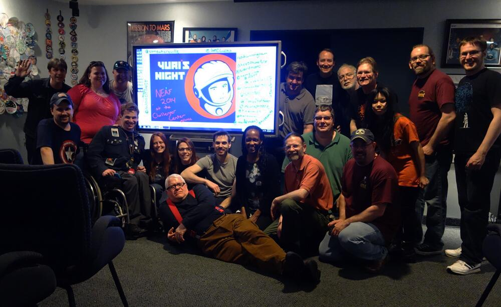 The #NEAFPosse, the relatively diverse and always welcoming group of SpaceTweeps that gather for NEAF every year, celebrating the conjunction of NEAF and Yuri's Night last Saturday.  Photo by Tony Hoffman.