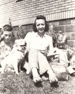 My grandmother taking a moment to enjoy her family and dog in the 1940s.